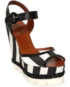 Dolce & Gabbana 140Mm Patent & Striped Wedge Sandals - Lyst