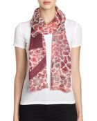 Tory Burch Watercolor Leopard-Print Wool Scarf - Lyst