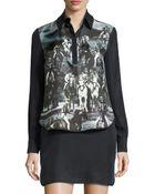 L.A.M.B. Long-Sleeve Printed Dress - Lyst