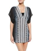 Milly Anguilla Embroidered Ombre Silk Tunic - Lyst