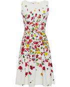 Oscar de la Renta Floral Print Pleated Dress - Lyst