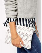 Falconwright Leather Clutch In Hand Print - Lyst