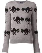 Jil Sander Navy Cat Intarsia Sweater - Lyst