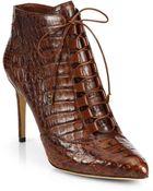 Alexandre Birman Lace-Up Crocodile Ankle Boots - Lyst