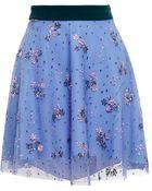 Mary Katrantzou Tulle Mini Skirt With Floral Sequins - Lyst