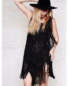 Haute Hippie Womens Fringe Suede Dress - Lyst