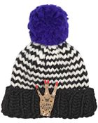 Maria Francesca Pepe+wool And The Gang Wool Beanie Hat W/ Gold Pleated West Pin - Lyst