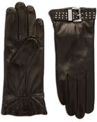 Michael Kors Buckle Accented Leather Gloves - Lyst