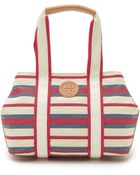 Tory Burch Printed Canvas Small East/West Tote - Robinson Stripe Comet - Lyst