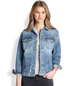 AG Adriano Goldschmied Nancy Oversized Distressed Denim Jacket - Lyst