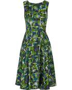 Oscar de la Renta Printed Silk-Satin Dress - Lyst
