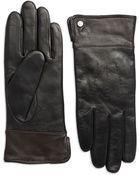 Lauren by Ralph Lauren Contrast Cuff Leather Gloves - Lyst