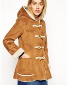 Asos Exclusive Faux Shearling Duffle Coat - Lyst