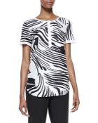 Lafayette 148 New York Shari Short Sleeve Zebra-Print Top - Lyst
