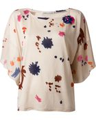 Tsumori Chisato Butterfly Sleeve Printed Blouse - Lyst