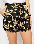 Asos Lace Hem Floral Print Shorts - Lyst