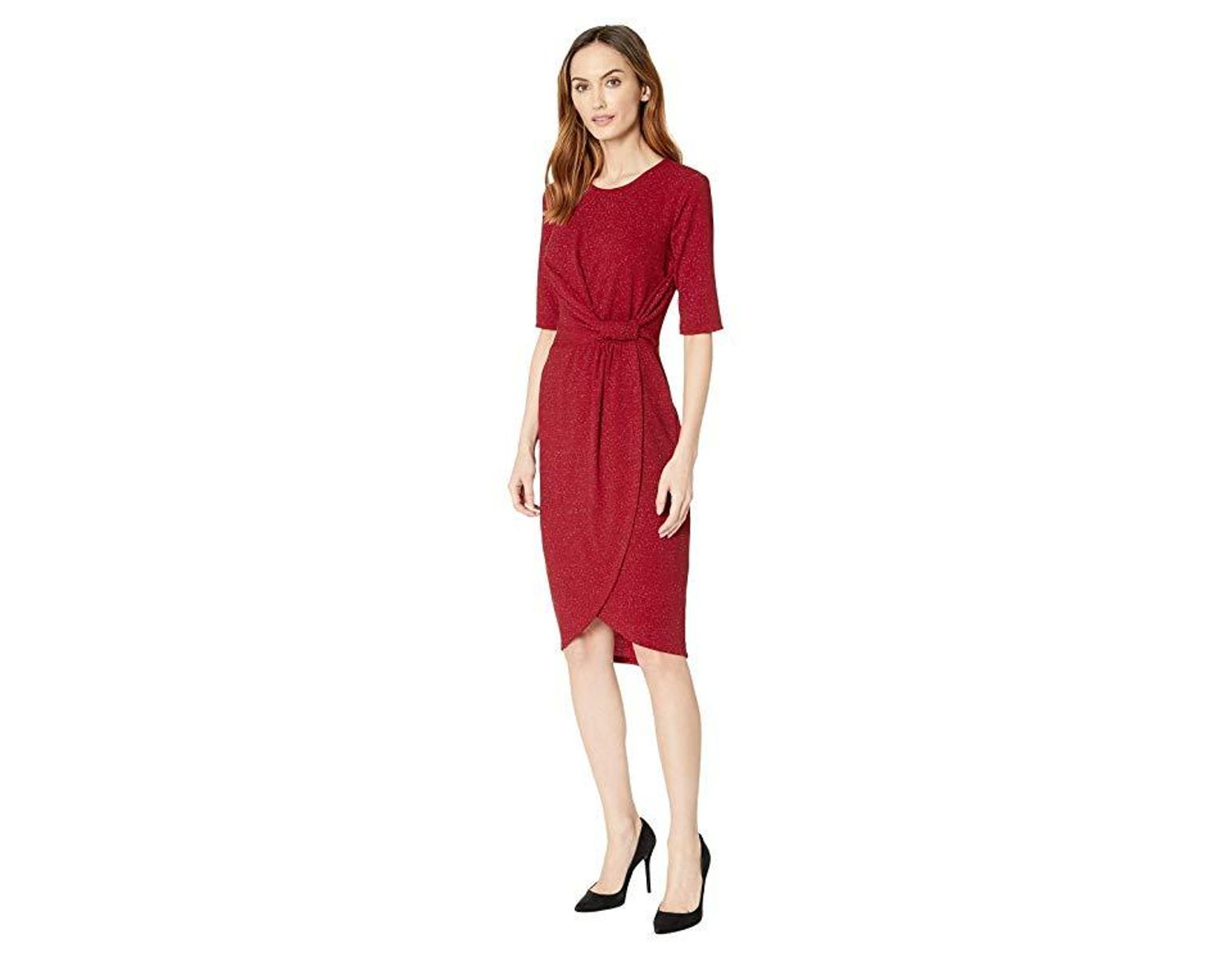 9dc6f6143ae9e1 Ivanka Trump Quarter Sleeve Knot Dress in Red - Save 46% - Lyst