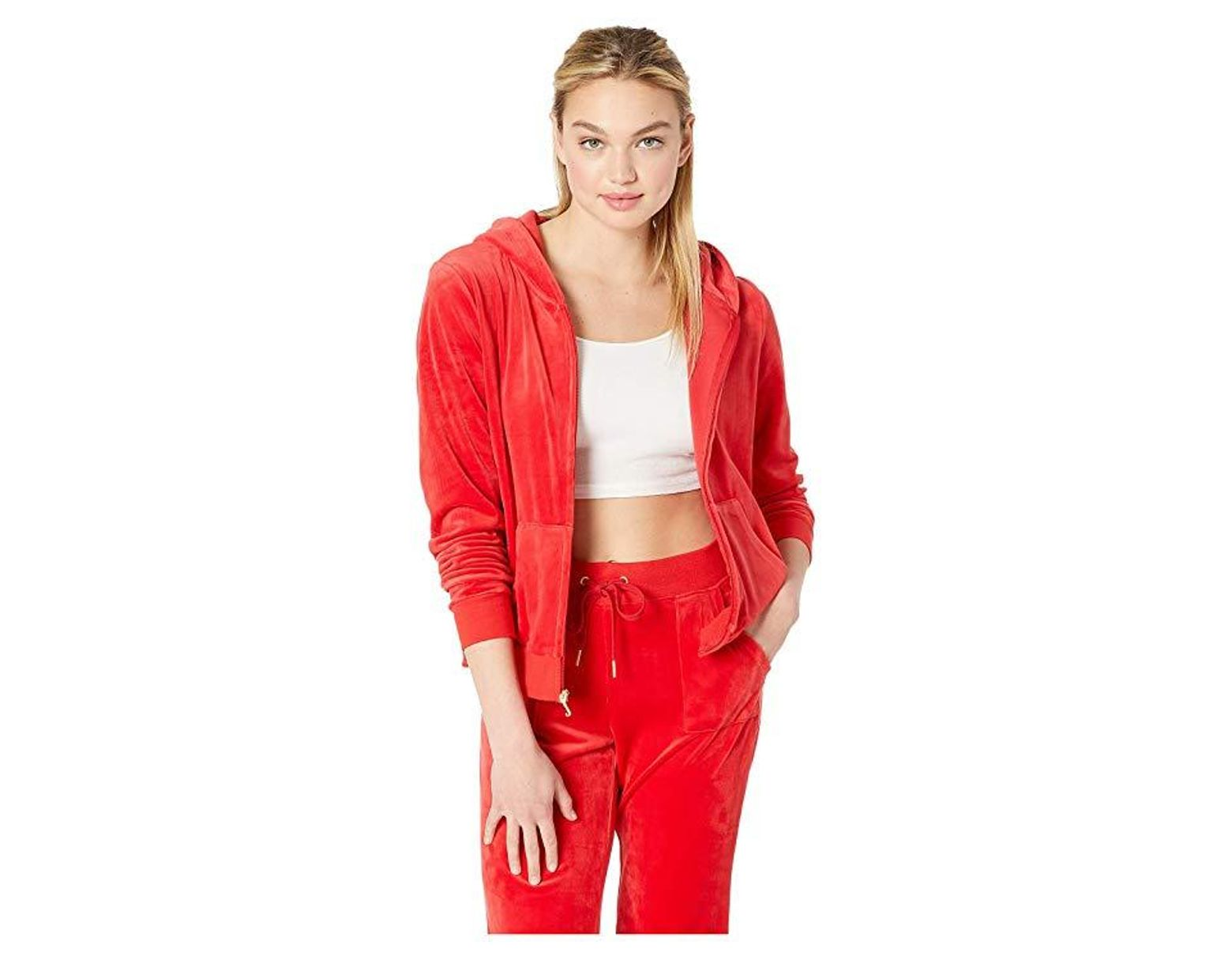 9a573716 Juicy Couture Glitter Plastisol Crown Hoodie (true Red) Clothing in Red -  Save 20% - Lyst