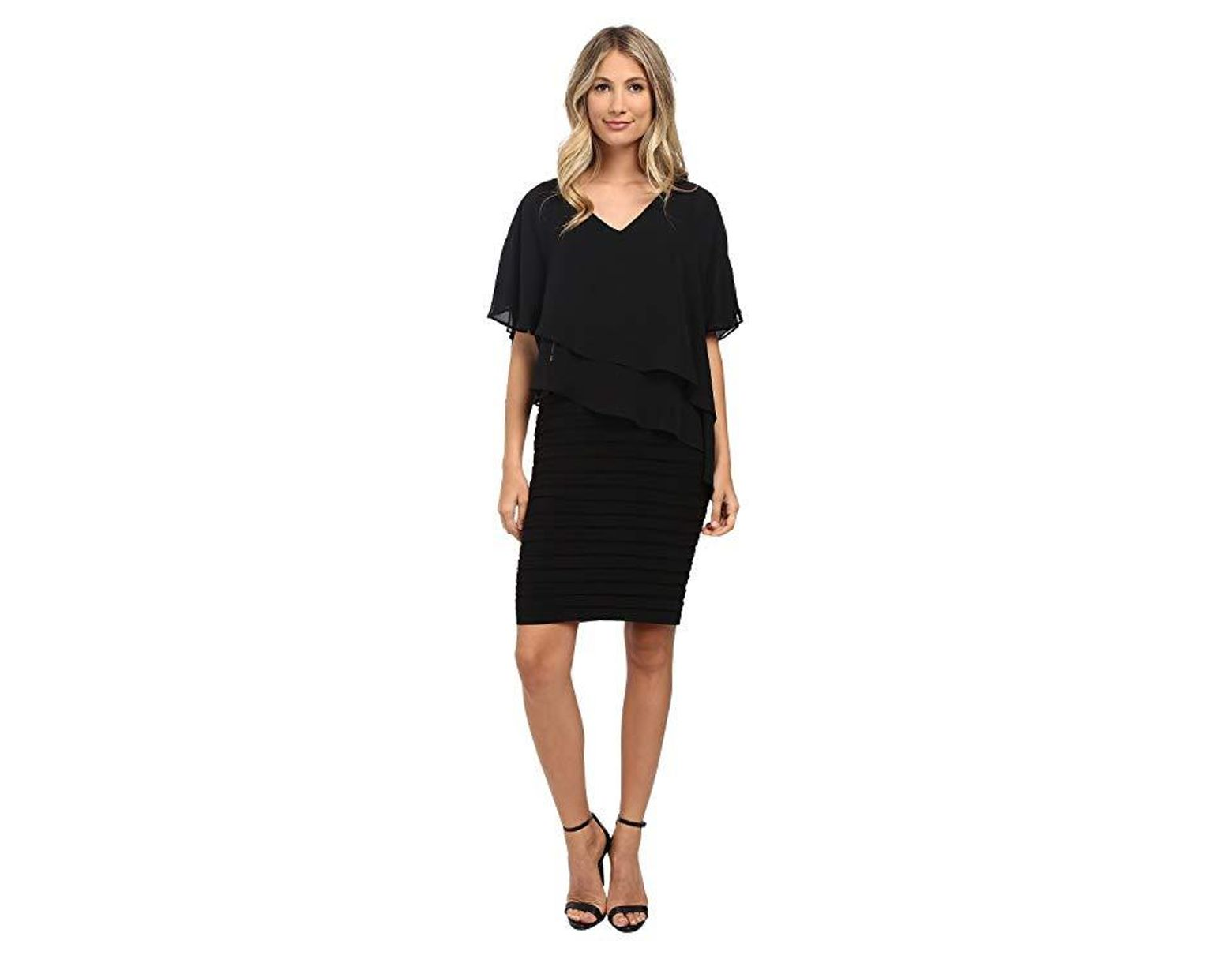 6da486d52a9e0 Adrianna Papell Layered Chiffon Capelet Banded Dress (black) Dress in Black  - Save 39% - Lyst