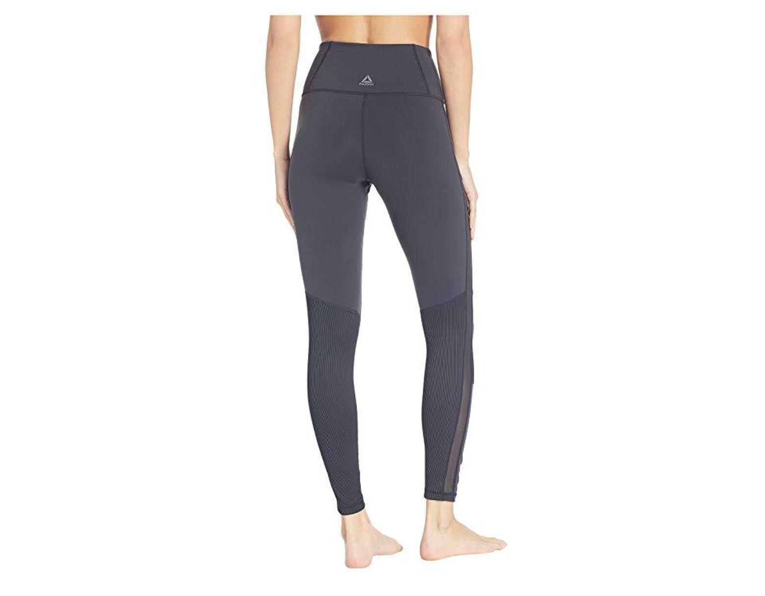 f4f9941c Reebok Lux Ribbed High-rise Tights-rib (black) Casual Pants in Black - Lyst