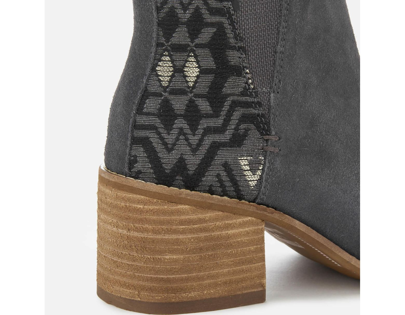 53c4091b7 TOMS Esme Suede/metallic Jacquard Heeled Chelsea Boots in Gray - Save 16% -  Lyst