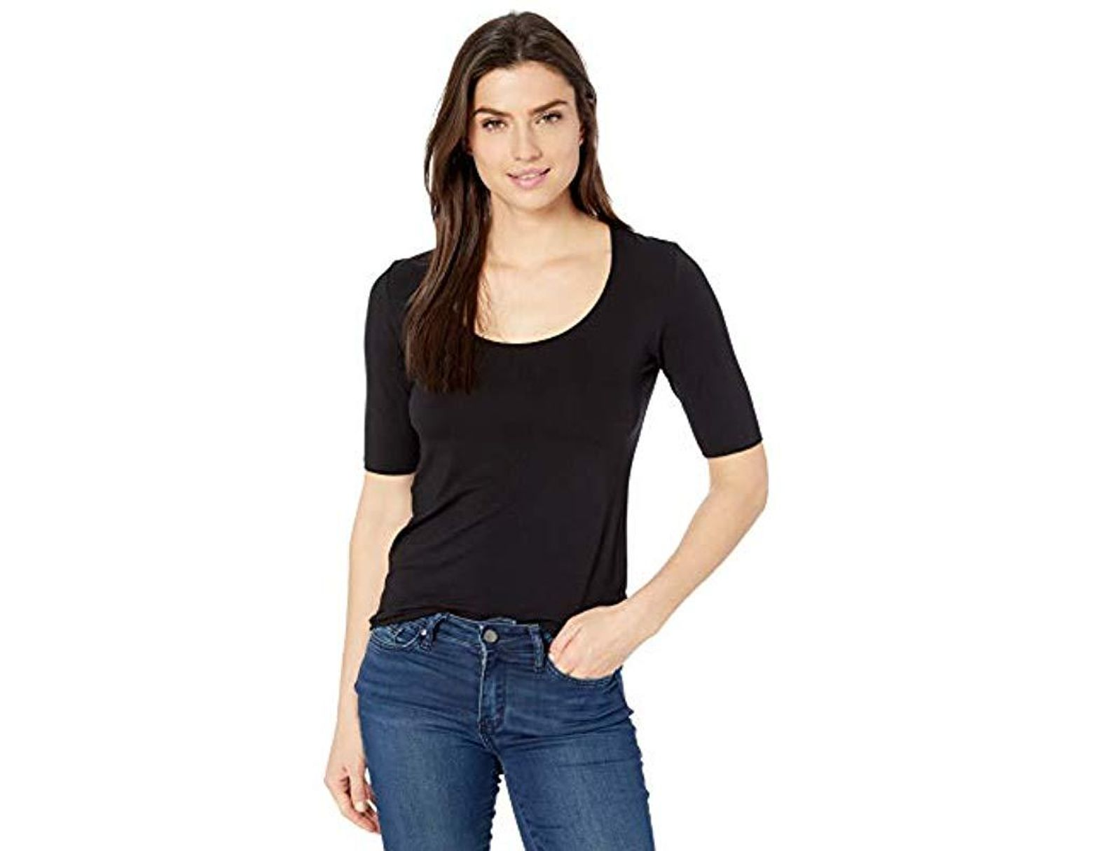 659e9858b Majestic Filatures Elbow Sleeve Marrow-edge Scoop Neck in Black - Lyst