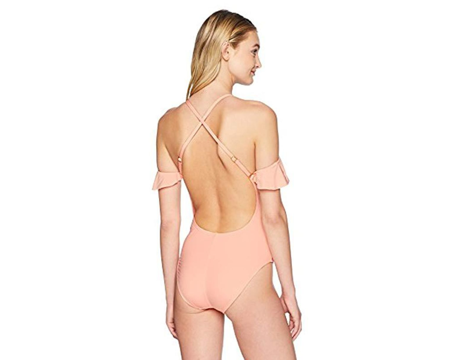 3d48f2f1fc5fa Kenneth Cole Reaction Off Shoulder Ruffle Sleeve One Piece Swimsuit - Save  33% - Lyst