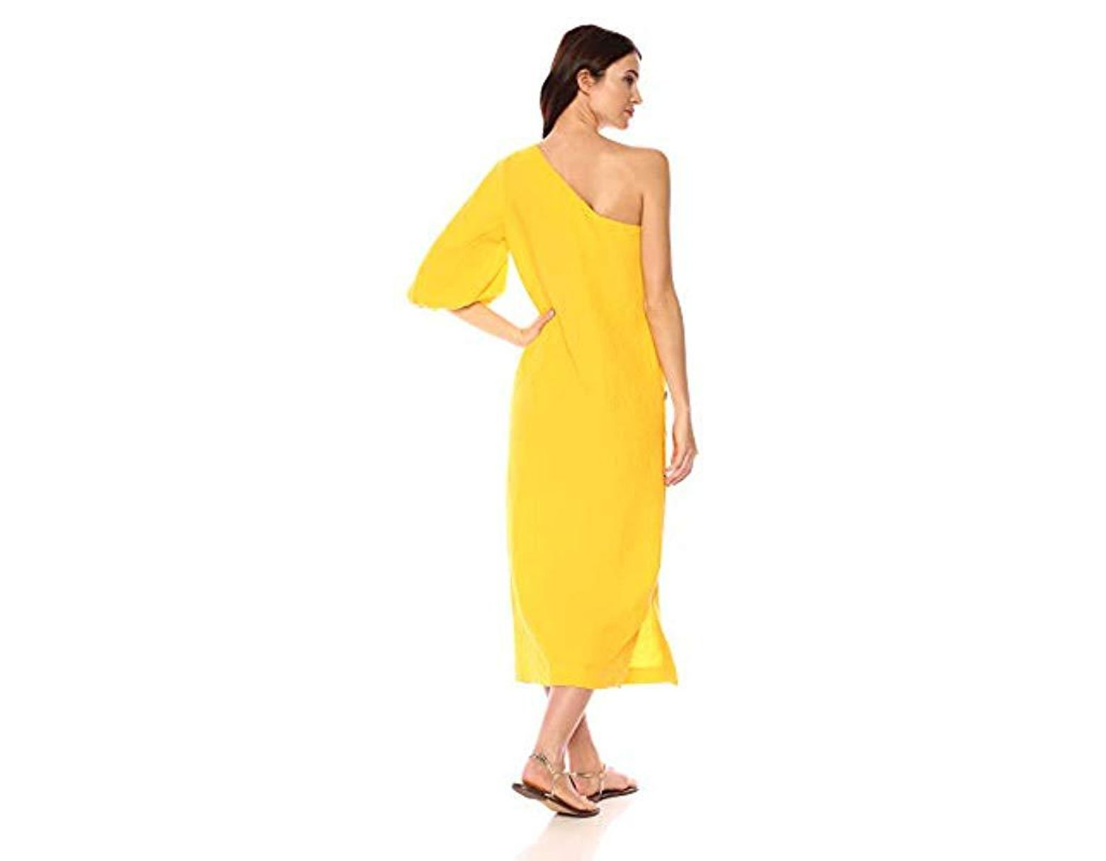 8b98e278bf1 Mara Hoffman Emilie One Shoulder Button Side Ankle Dress in Yellow - Lyst