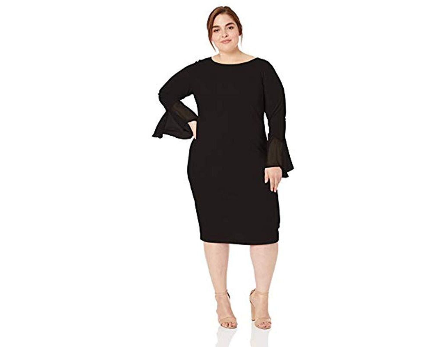 e3dbdc3c Calvin Klein Plus Size Solid Sheath With Chiffon Bell Sleeves Dress in  Black - Lyst