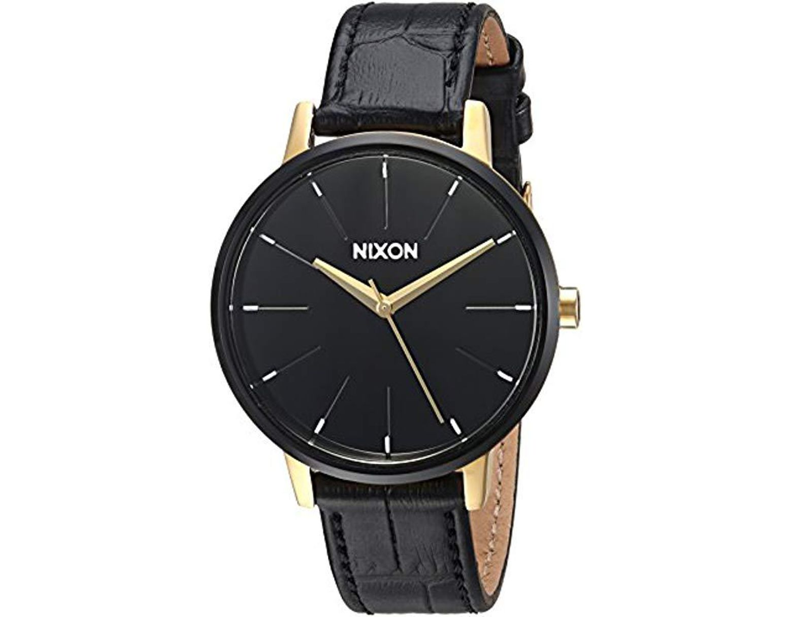 3533e510f Nixon Kensington Stainless Steel Watch With Leather Band in Black - Lyst