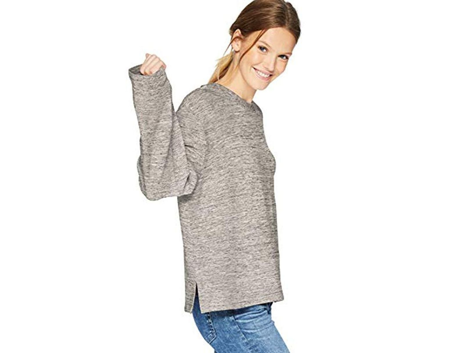 bf1ee61bdfd2 Daily Ritual. Women's Gray Terry Cotton And Modal Boxy Long Square Sleeve  Top