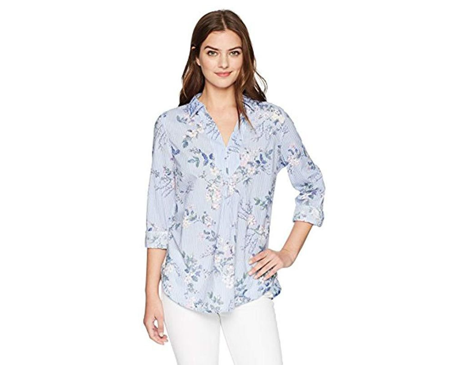 5b91e741dd5f58 Bandolino Franny Pull Over Shirt With Roll Sleeves in Blue - Lyst