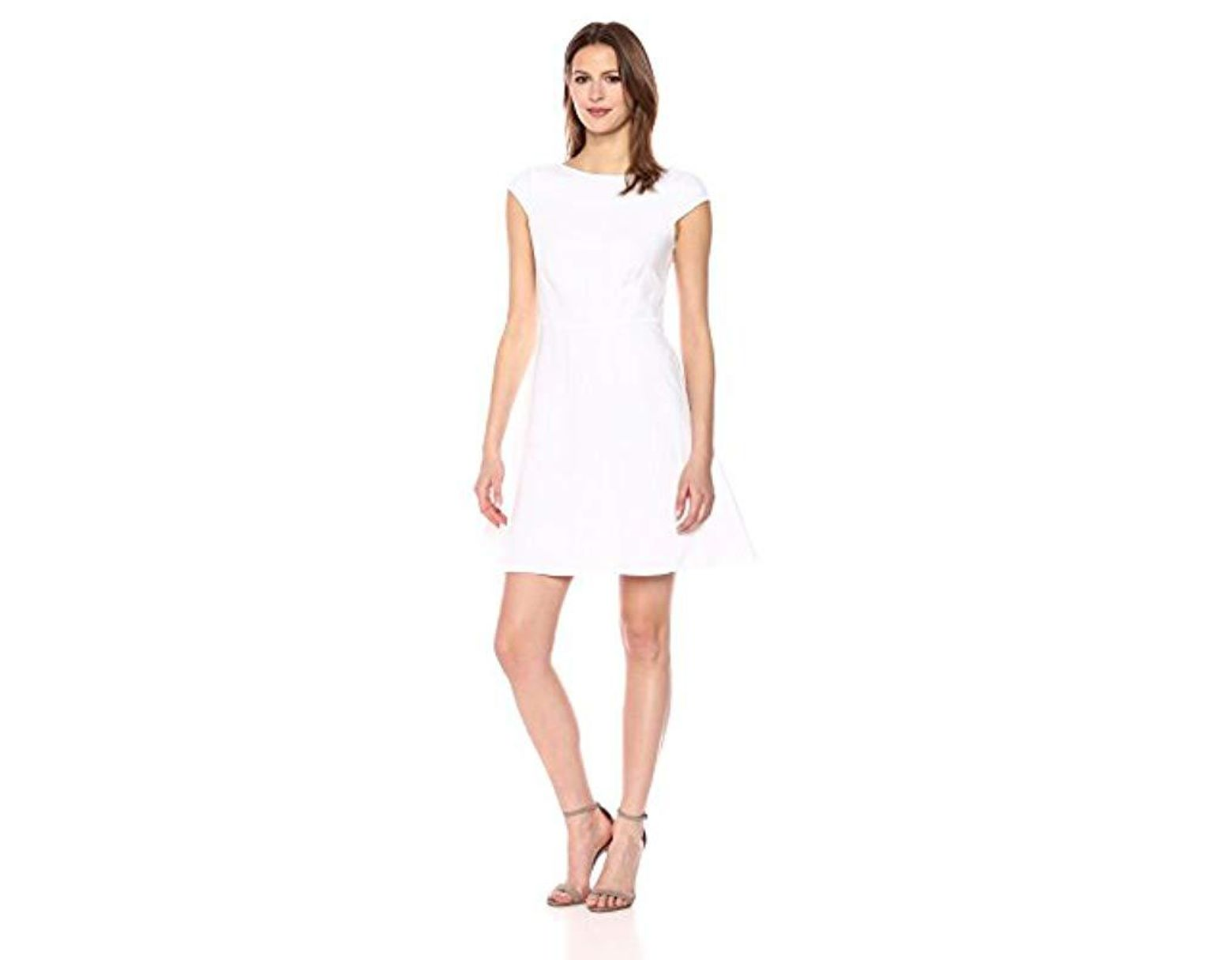 82a7f73d730 Theory Linen Cap Sleeve Shift Dress in White - Lyst