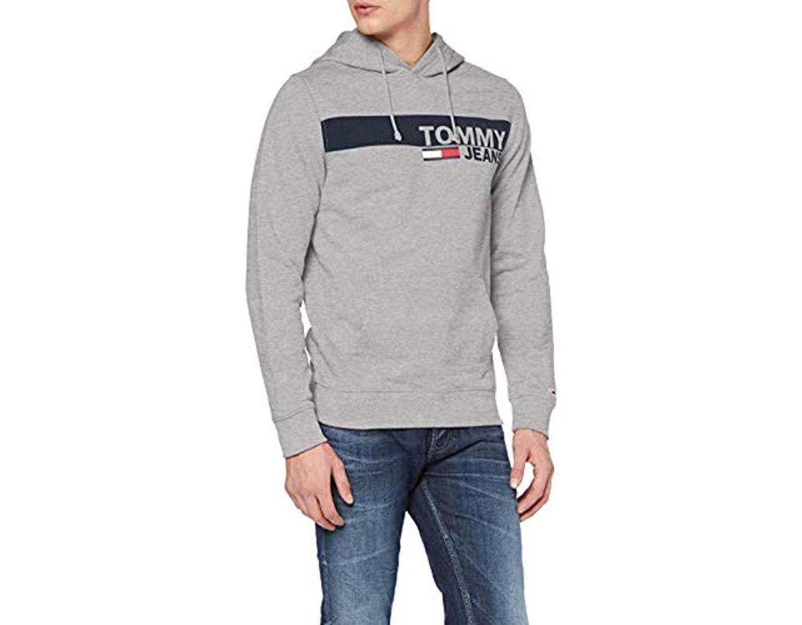 42c713b1 Tommy Hilfiger Essential Graphic Hoodie Sweatshirt in Gray for Men - Lyst