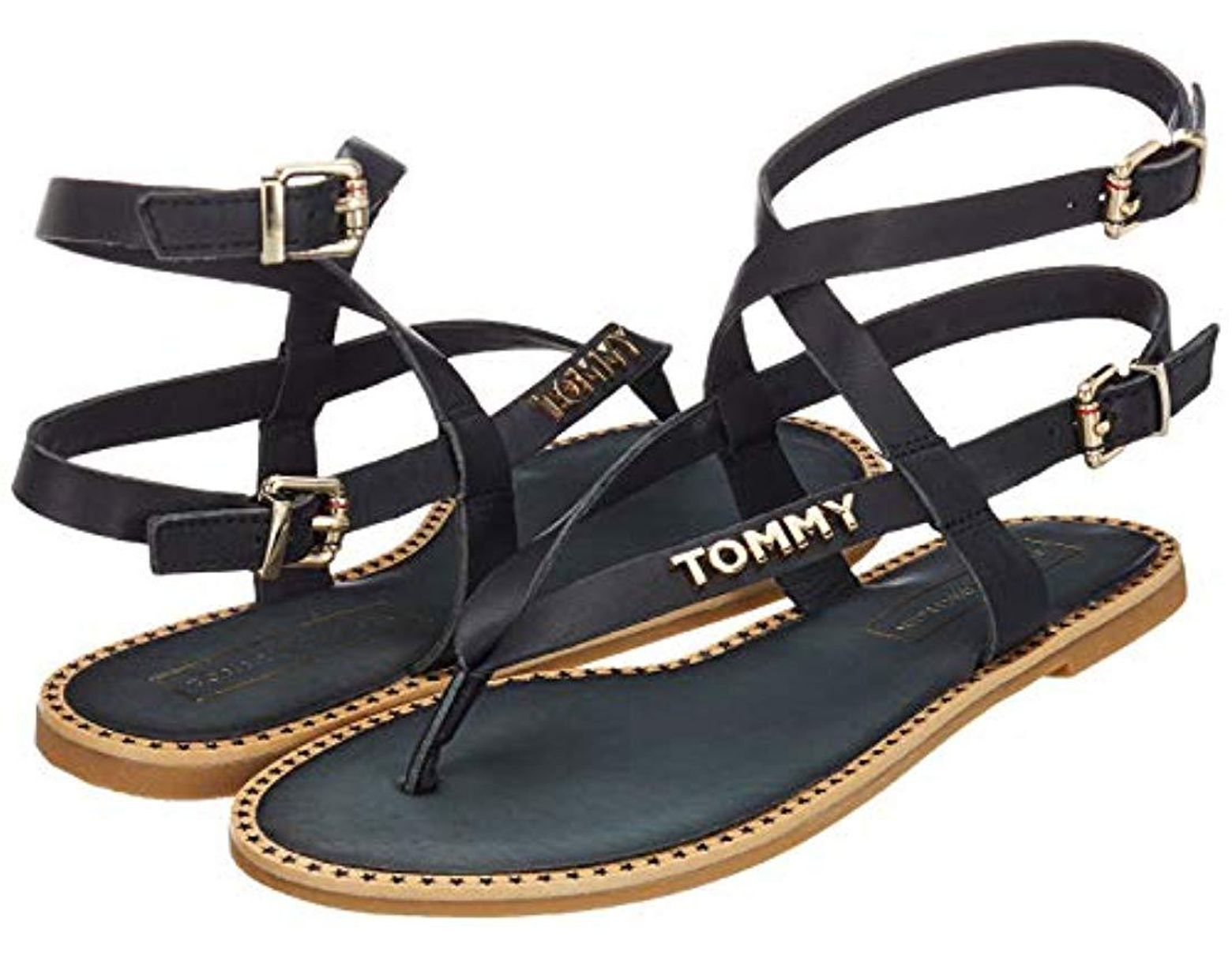 f9240d78ab Tommy Hilfiger Iconic Flat Strappy Sandal Flip Flops in Blue - Lyst