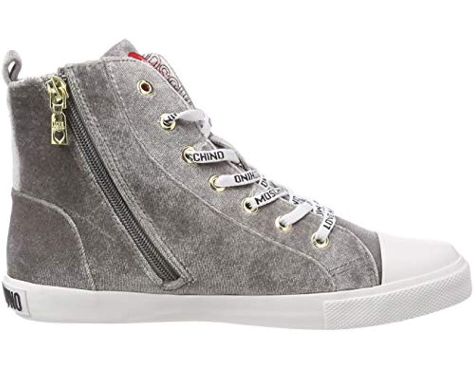 Love Save Gray nod Velluto Trainers gomma30 Hi In Sca Top Moschino tdsQrh