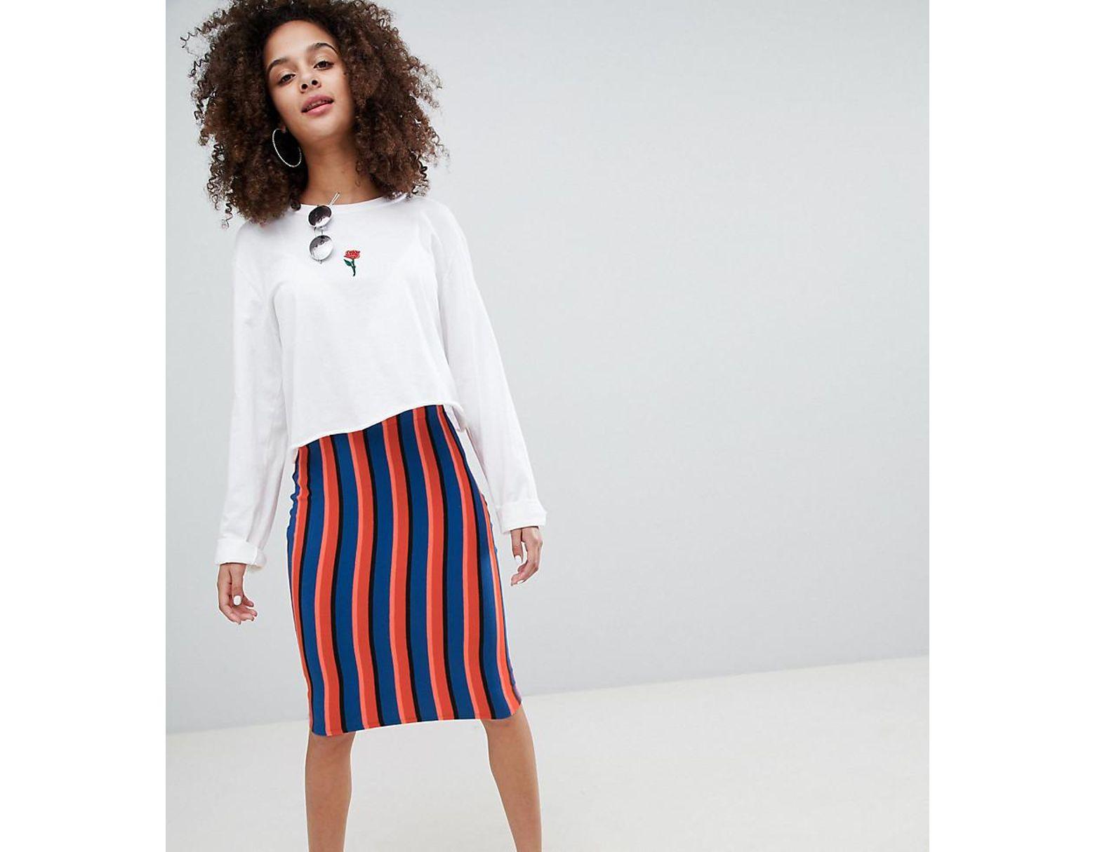 f877809a3 Bershka Bright Striped Midi Skirt In Multi - Lyst