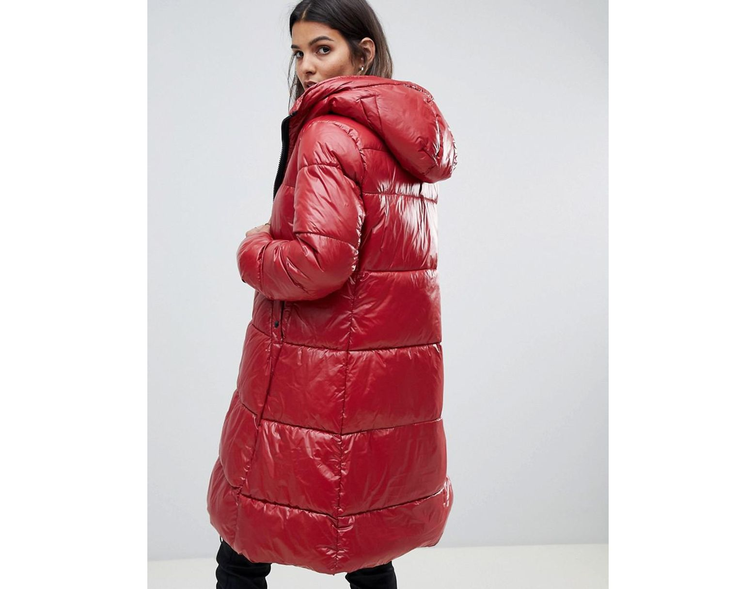 cc8d5aed003 G-Star RAW High Shine Long Line Padded Jacket in Red - Lyst