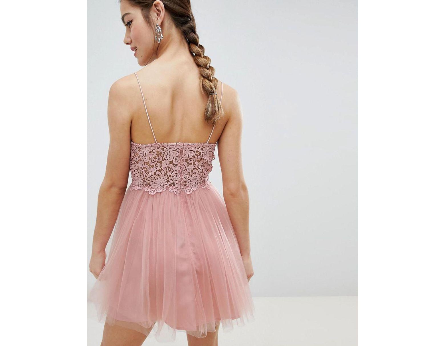 1b1fca5cc4c9 ASOS Asos Design Petite Premium Lace Cami Top Tulle Mini Dress in Pink -  Lyst