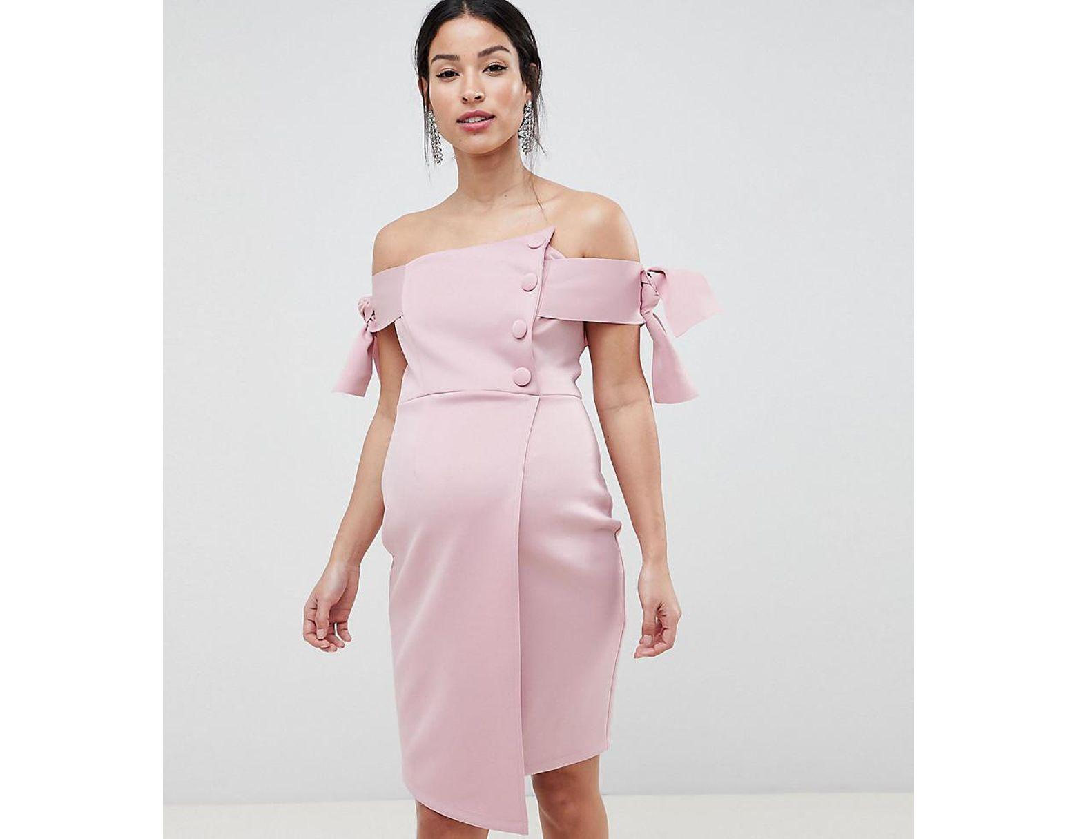 e24d8ccd3161 ASOS Asos Design Maternity Bardot Tie Sleeve Button Wrap Mini Dress in  Natural - Lyst