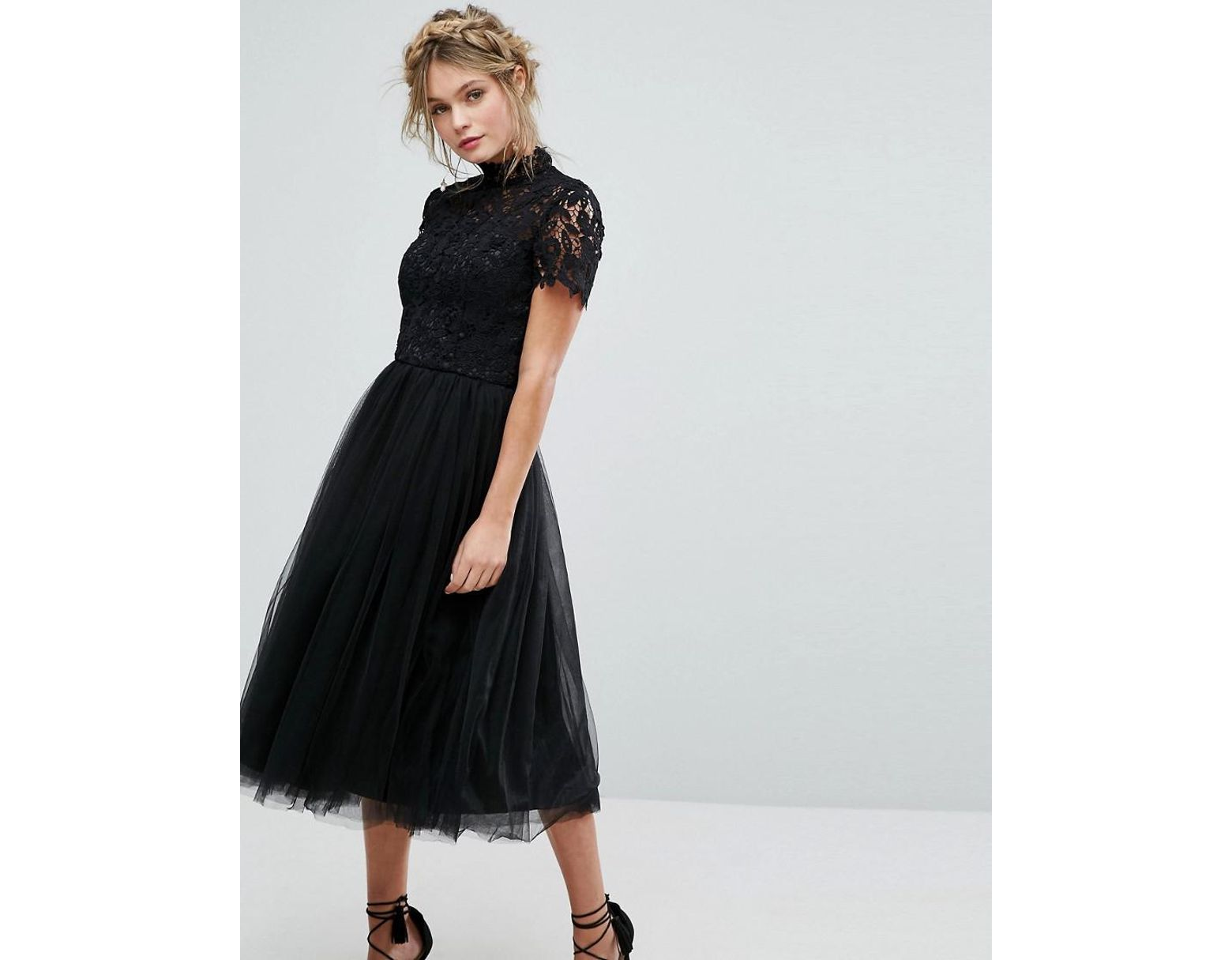 3c64cba151 Chi Chi London High Neck Lace Midi Dress With Tulle Skirt In Black in Black  - Lyst