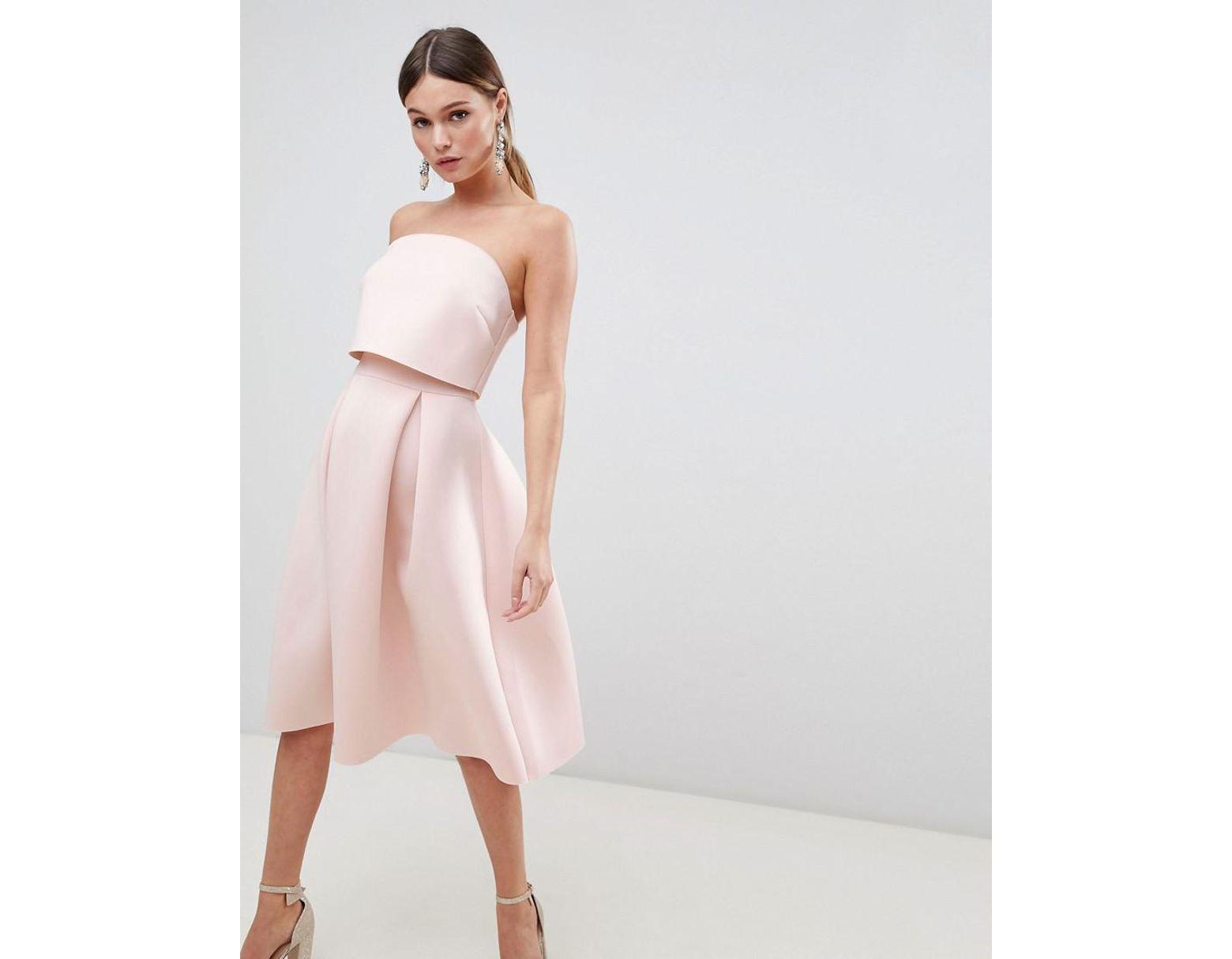 81e4e4e9d977 ASOS Bandeau Crop Top Prom Midi Dress in Pink - Lyst