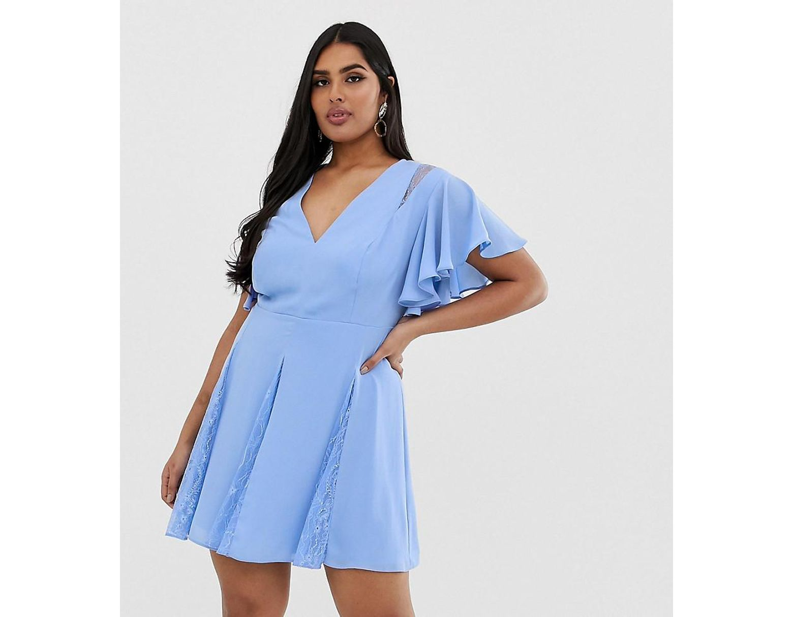 b2bbaeff7deb8 ASOS Asos Design Curve Mini Dress With Godet Lace Inserts in Blue - Lyst