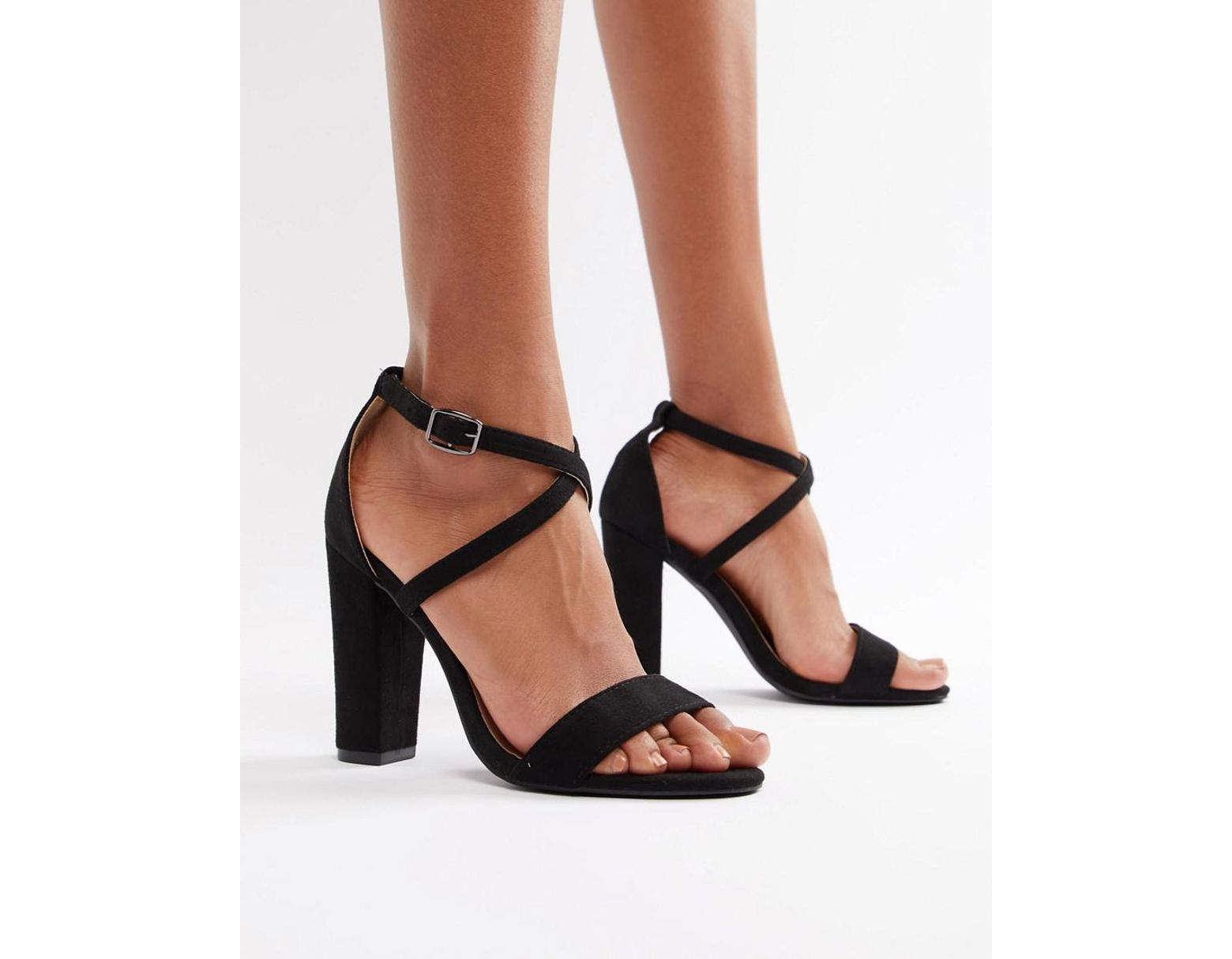 efdde95ff Glamorous Cross Strap Block Heeled Sandals In Black in Black - Lyst