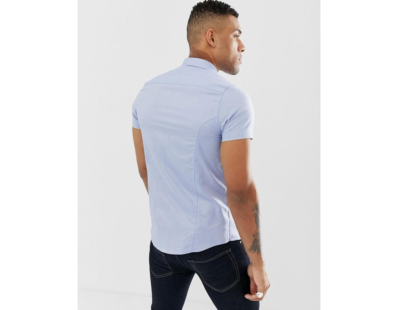 05246275d3b0c Gym King Muscle Short Sleeve Shirt In Blue Exclusive To Asos in Blue for  Men - Lyst