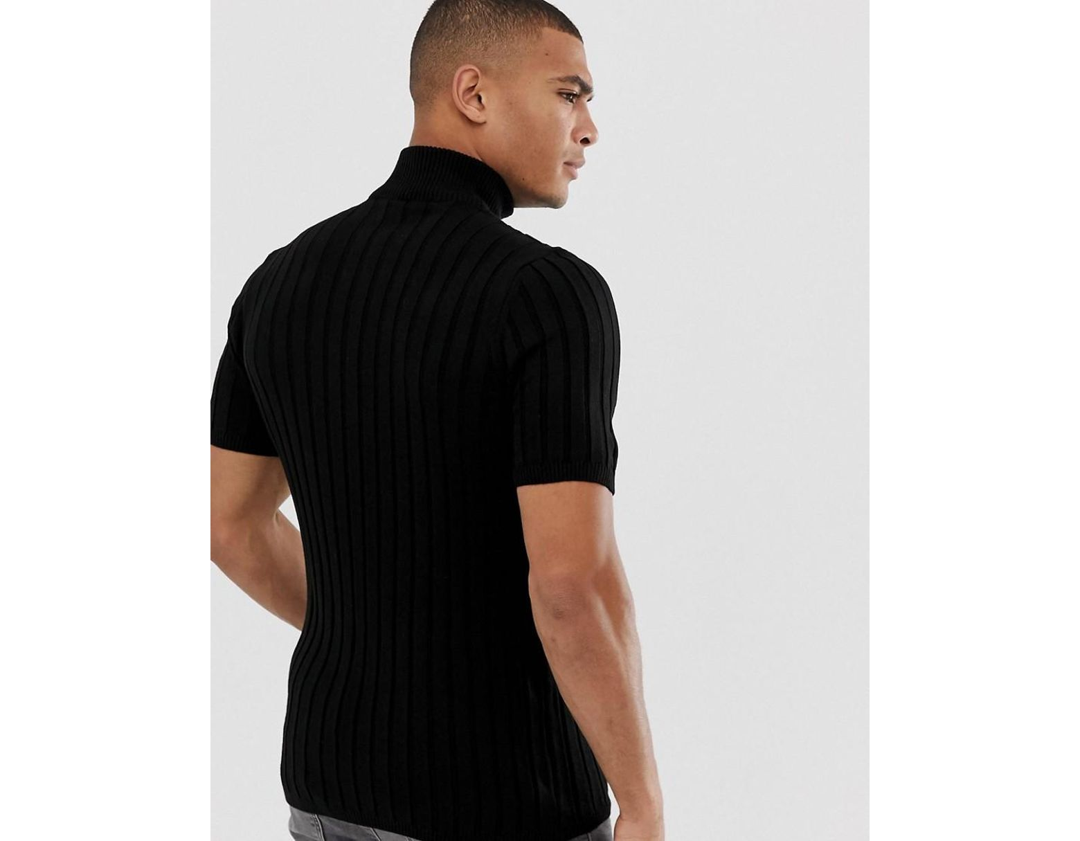 616db78c ASOS Muscle Fit Knitted T-shirt With Half Zip In Black in Black for Men -  Lyst