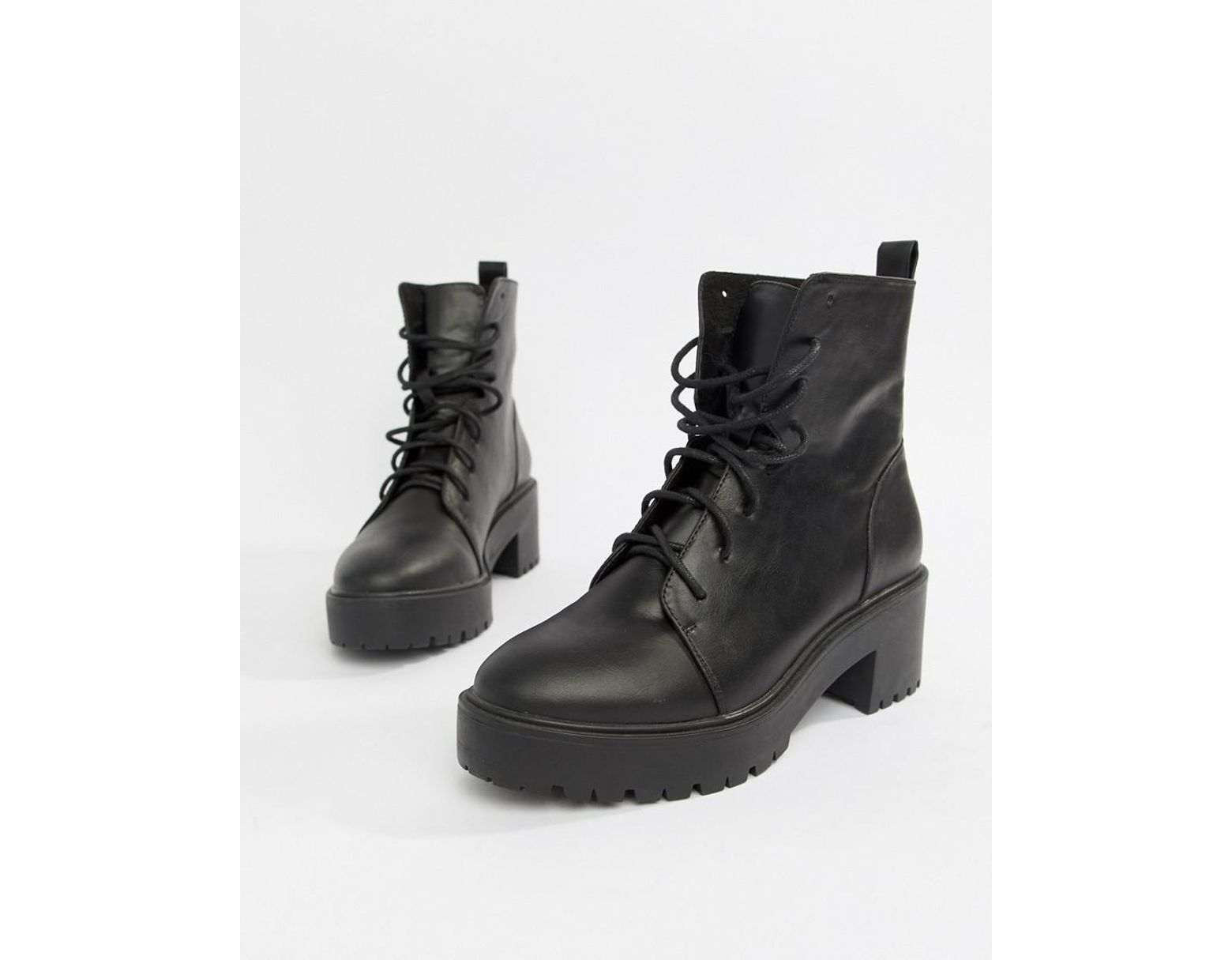 11b89e1a7c0 ASOS Raider Chunky Lace Up Boots in Black - Lyst