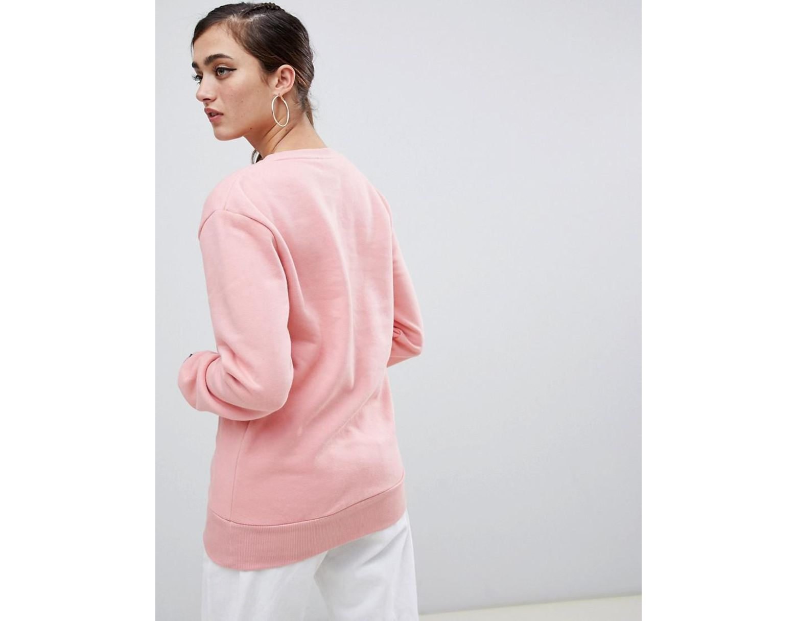 67fa30bb Ellesse Boyfriend Sweatshirt With Front Logo in Pink - Lyst