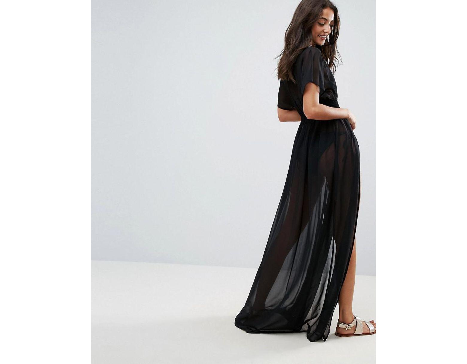 94a13ef2e1 ASOS Asos Design Tall Shirred Waist Maxi Chiffon Beach Caftan in Black -  Lyst