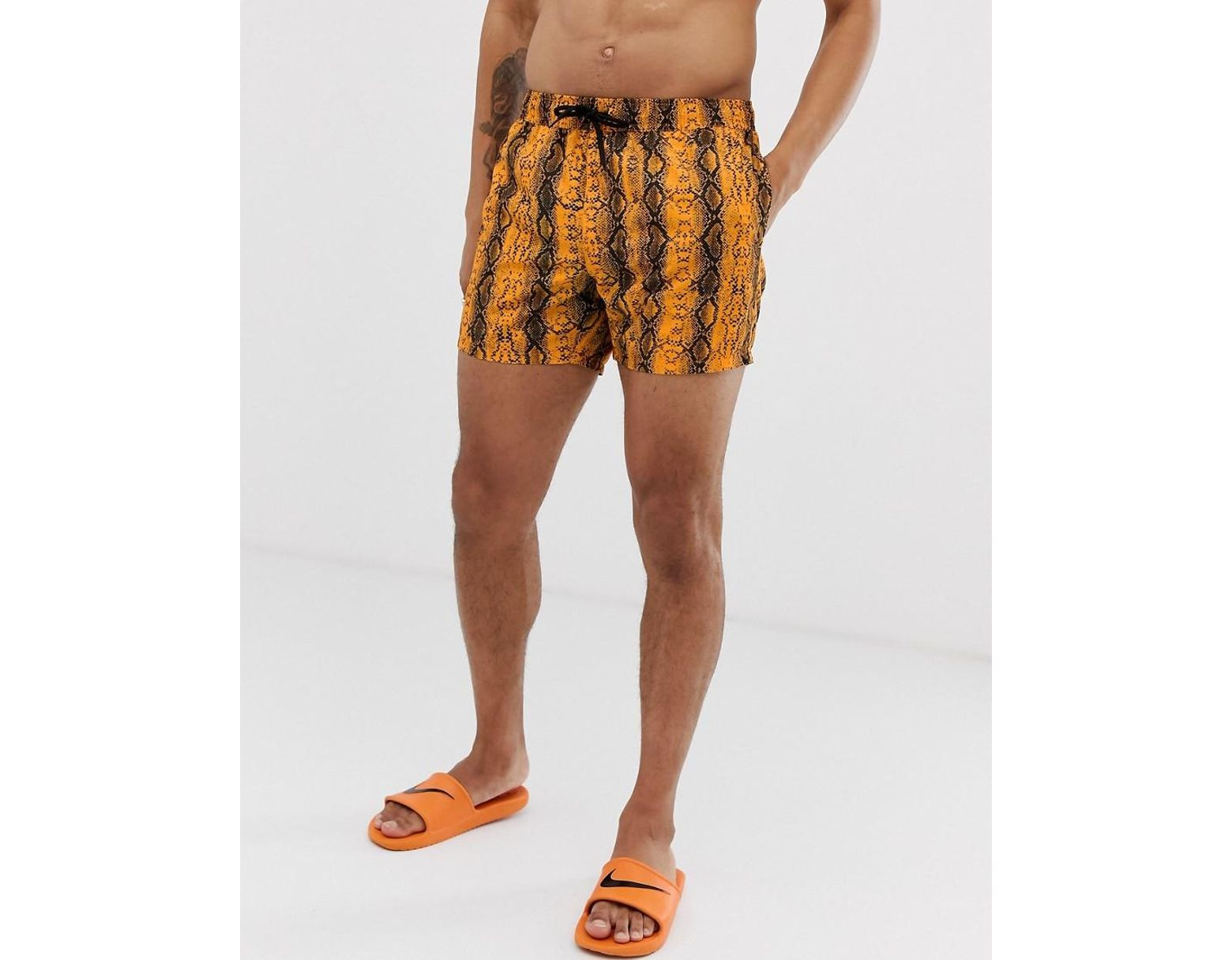 f138a84bb0 ASOS Swim Shorts In Neon Orange Snake Print Short Length in Orange for Men  - Lyst